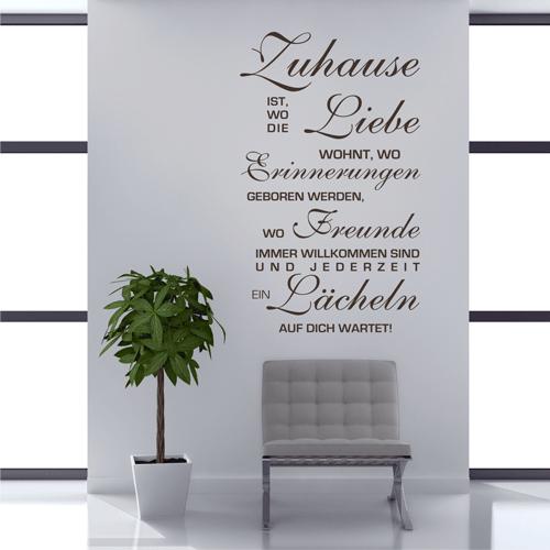 wandtattoo xxl zuhause ist wo die liebe wohnt spruch. Black Bedroom Furniture Sets. Home Design Ideas