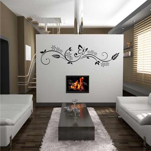 wandtattoo wandbanner wandaufkleber wohnzimmer schlafzimmer blumen floral ebay. Black Bedroom Furniture Sets. Home Design Ideas