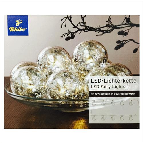 tcm tchibo led lichterkette mit 10 glaskugeln in bauernsilber optik warmwei ebay. Black Bedroom Furniture Sets. Home Design Ideas